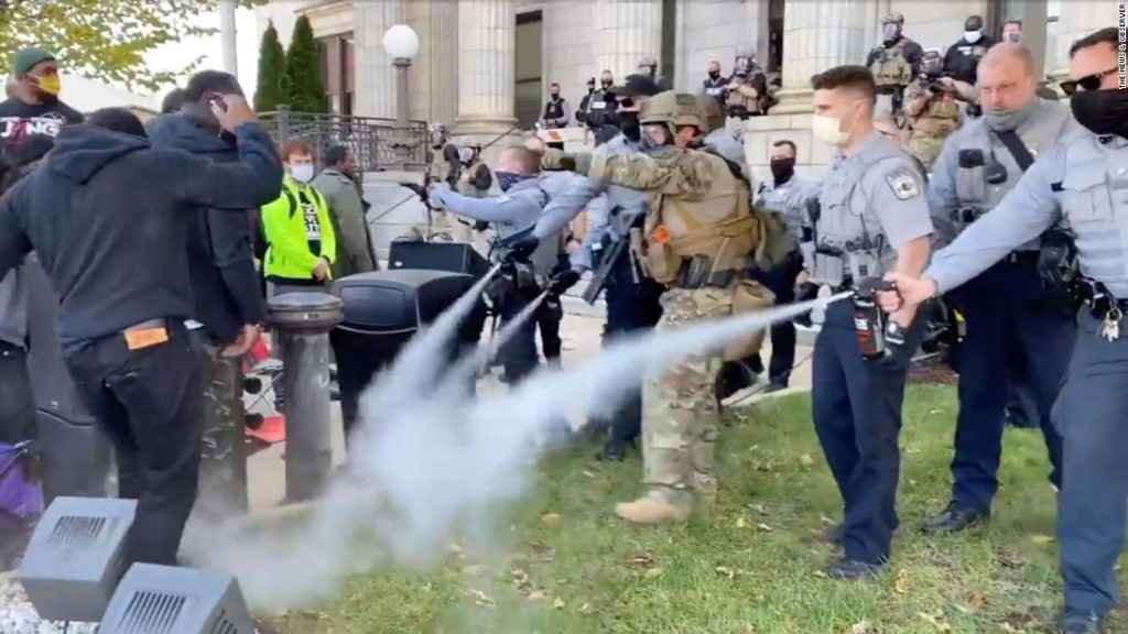 Police used pepper spray to break up a North Carolina march to a polling place