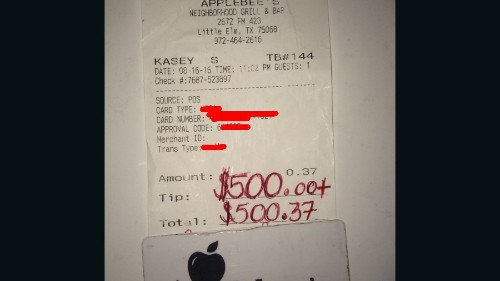 Waiter tipped $500 for act of kindness