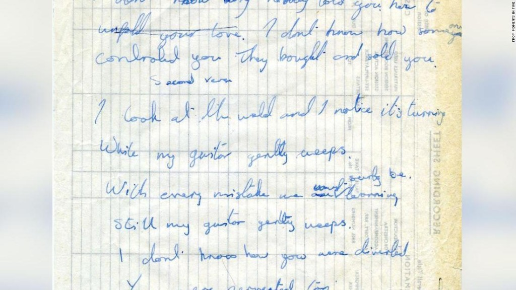 George and Ringo's handwritten lyrics to The Beatles' 'While My Guitar Gently Weeps' are for sale