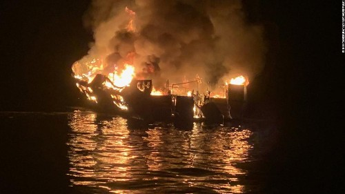 The search has been suspended in the deadly dive-boat fire off California coast