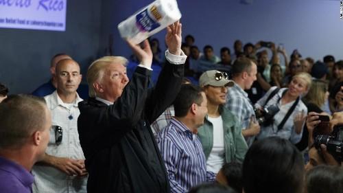 Trump defends tossing paper towels