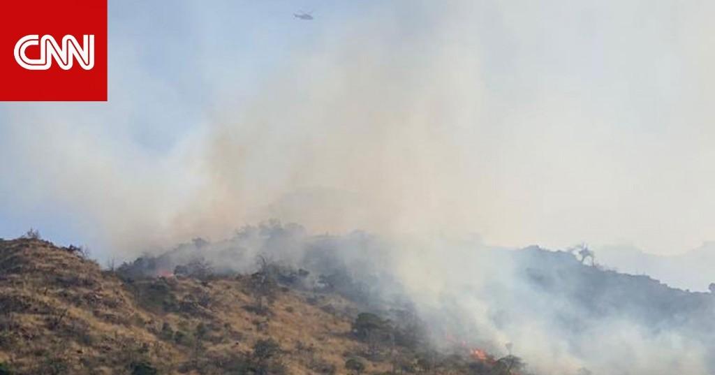 تداول فيديو حريق ضخم بجبل عمد في مكة بالسعودية