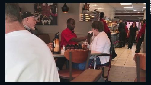 Waiter receives job offer after helping a disabled customer