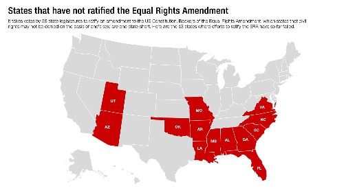 Only one more state needs to pass the Equal Rights Amendment to finally get it ratified. Here are the 13 that haven't