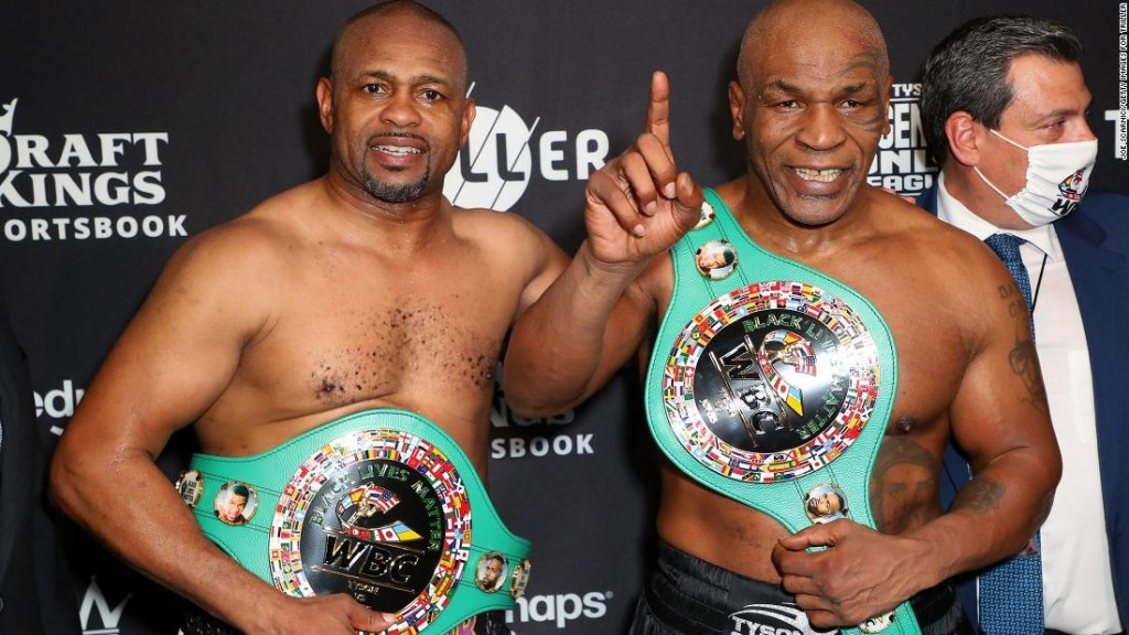'Frontline Battle' between former heavyweight champion Mike Tyson and Roy Jones Jr. ends in a draw