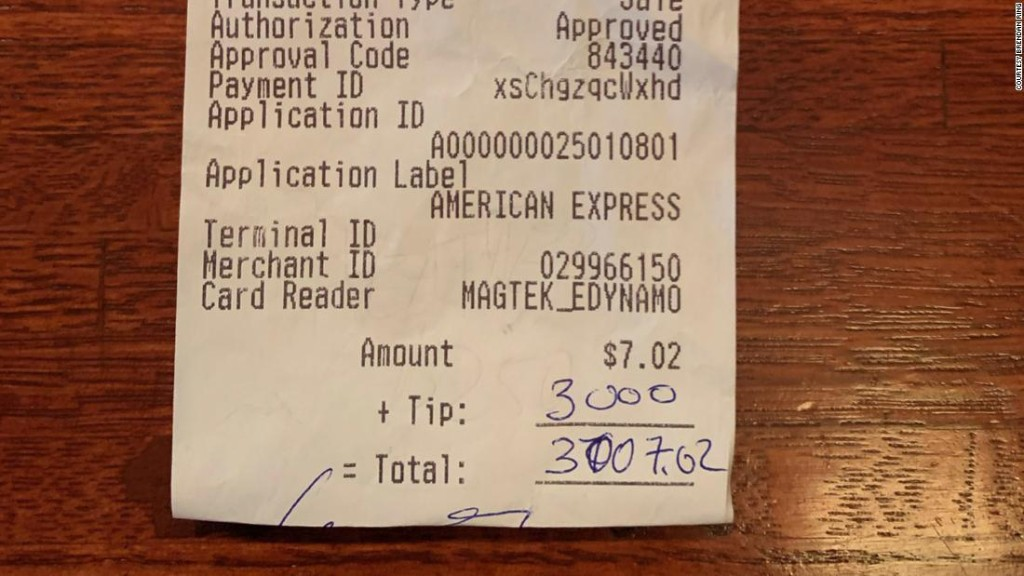 Local restaurant in Cleveland is shocked when a customer leaves a $3,000 tip