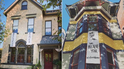 Residents in this city are hanging dozens of bedsheet banners to support survivors of sexual assault