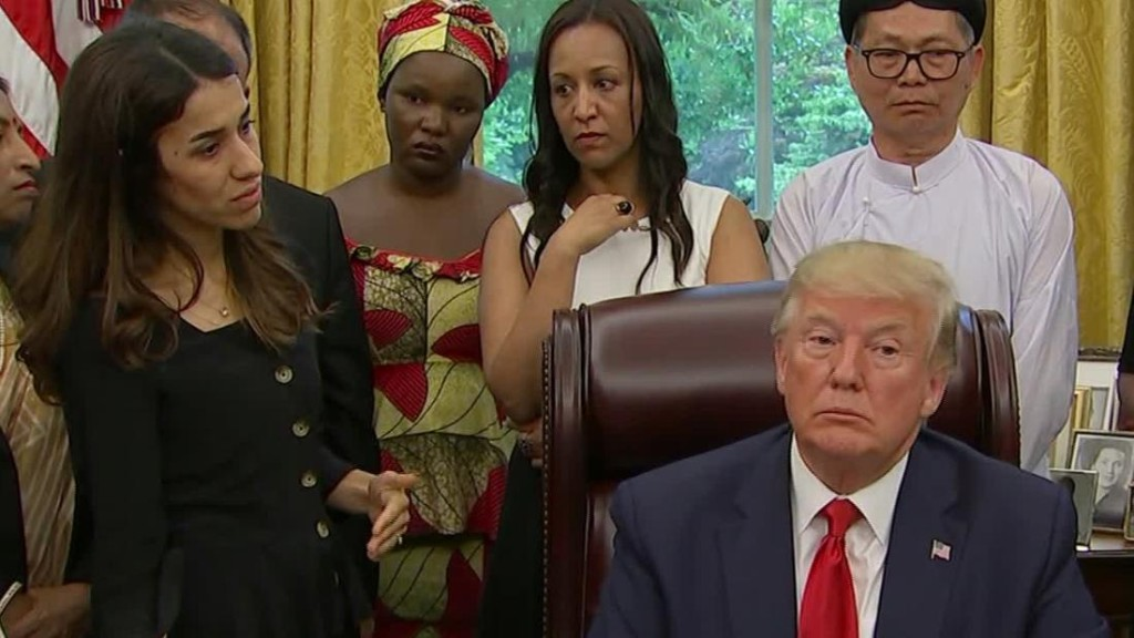 Trump Oval Office exchange with Nobel Peace Prize winner highlights tension over immigration