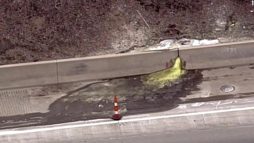A cancer-causing green slime was found oozing onto a highway in a Detroit suburb, officials say