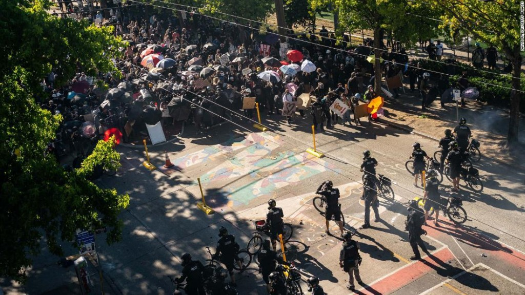Peaceful protests and violent clashes erupted this weekend. Here's what happened in 6 cities