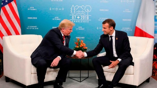 Trump spars with Macron as Air Force One lands in France