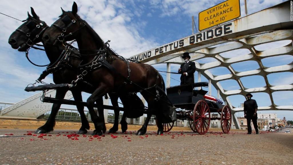 Watch Rep. John Lewis cross Edmund Pettus Bridge for the last time