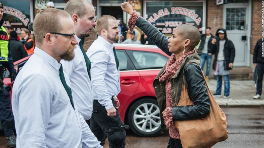 Lone woman defies neo-Nazi march: 'I was angry'
