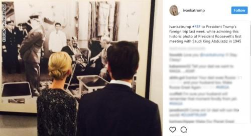 ماذا قالت ايفانكا ترامب عن صورة تجمع الملك عبدالعزيز آل سعود ورئيس أمريكا الأسبق