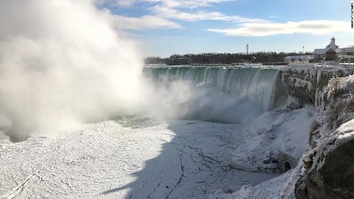 The usually rushing waters at Niagara Falls have frozen -- and visitors are stunned by the majestic views