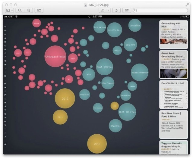 Visualize (And Touch) Your Evernote Data With Bubble Browser For Mac And iPad