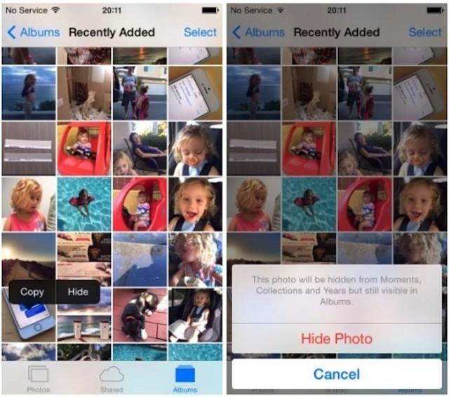 iOS 8 Photos app lets you hide your saucy snaps