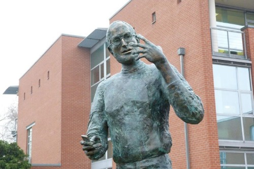 Software firm commemorates golden Steve Jobs moment with bronze statue