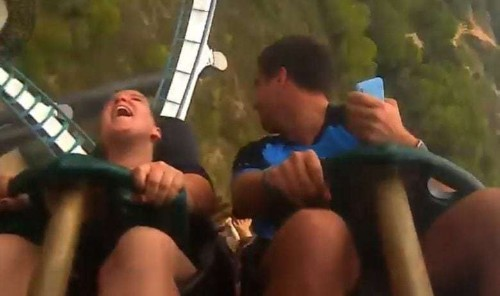 Man miraculously catches falling iPhone X on roller coaster ride
