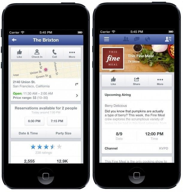 Facebook For iOS Gets #Hashtags, Ability To Make Restaurant Reservations With OpenTable