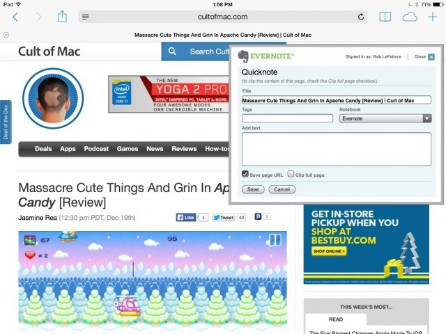 Add Web Clips To Evernote From Your iPad For Free [iOS Tips]