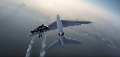 Jetpack daredevils take flight alongside Airbus A380