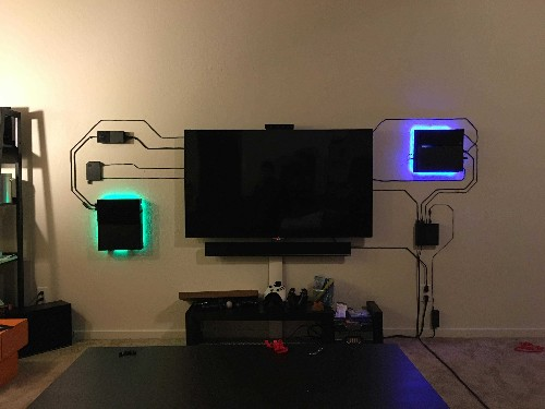 This home theater setup makes exposed wires look cool