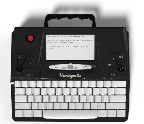 Hemingwrite keyboard would be perfect for typing your novel in the woods