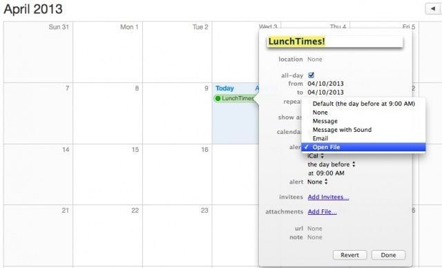 Mastering OS X Calendar: Open Any File On Your Own Schedule [OS X Tips]
