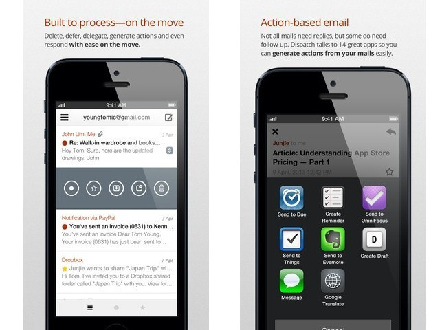 Dispatch For iPhone Integrates Your E-mail With All Your Other Apps