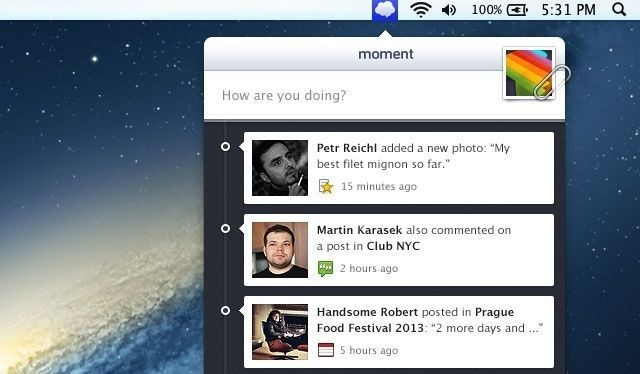 Moment Gives You Access To Facebook From Your Mac's Menubar