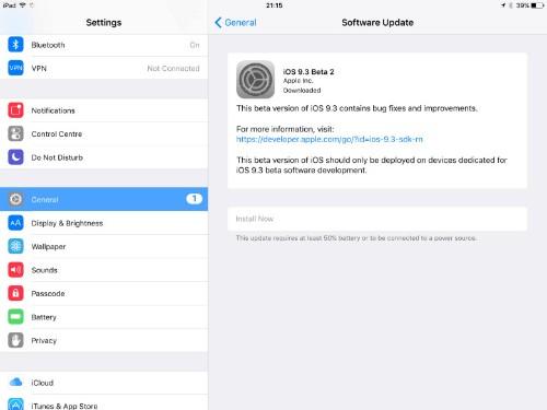 iOS 9.3 beta 2 brings new goodies