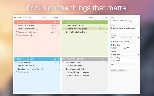 Focus Matrix helps you focus on the things that matter