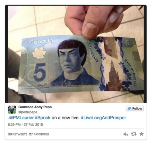 Live long and prosperous: Canadians pay tribute to Spock with $5 bill