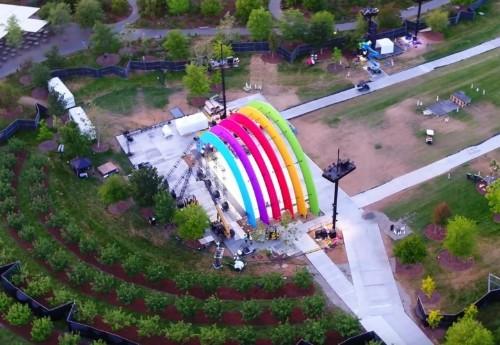 Apple Park flyover highlights mystery rainbow stage