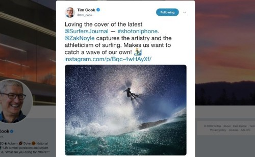 Tim Cook praises stunning shot on iPhone surfing image