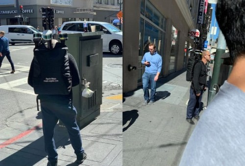Apple employee spotted walking streets wearing giant backpack with sensors