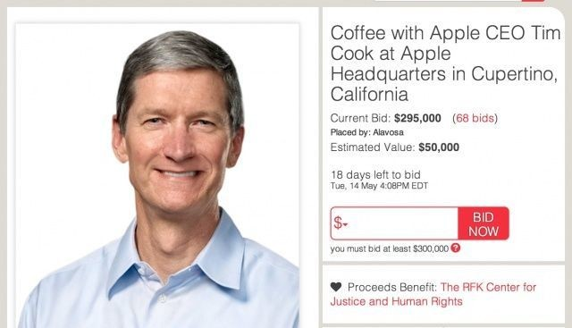 Coffee With Tim Cook Auction Reaches $295,000, Breaks Charitybuzz Record [Updated]