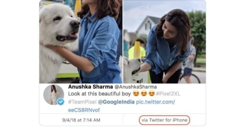 Another celeb gets caught promoting Android from their iPhone