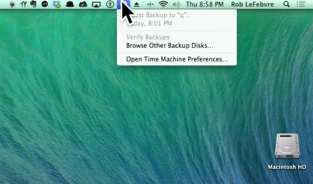 Quickly Access Time Machine Options Right In The Menu Bar With Mavericks [OS X Tips]