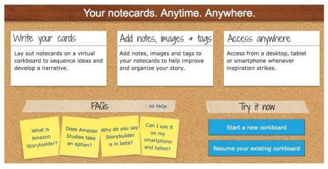 New Corkboard-Style Storyboard Web App From… Amazon?