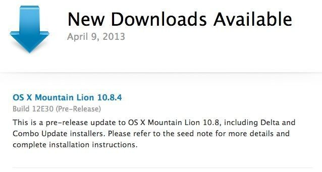Apple Just Released OS X 10.8.4 Beta Build 12E30 To Developers