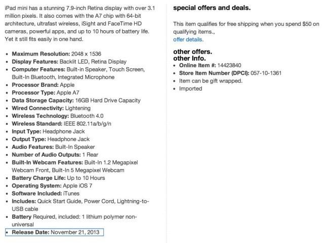 Target: Retina iPad Mini Will Launch November 21st