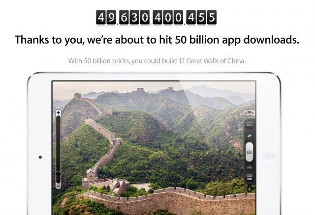 Countdown To 50 Billion App Downloads Is Front And Center At Apple.com