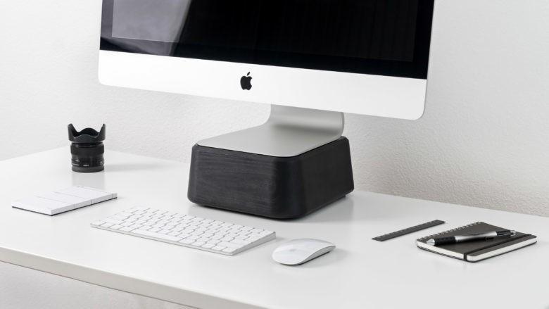 Hardwood Base for iMac makes your WFH office more ergonomic
