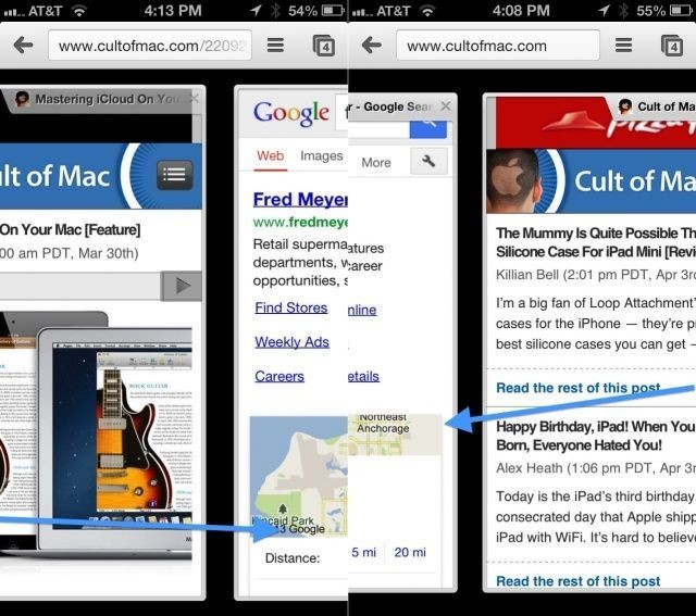 Secret iOS Gestures: Move Between Tabs In Chrome Mobile [iOS Tips]