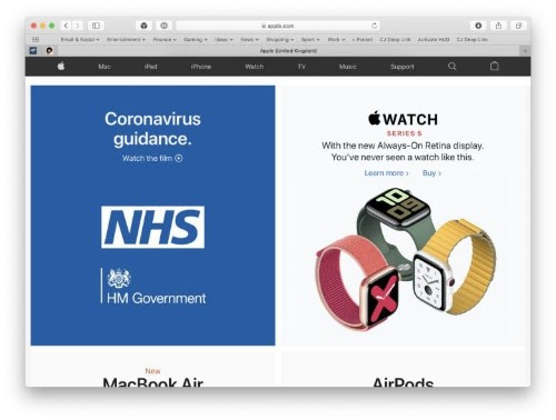 Apple.com displays government COVID-19 advice in U.K. and France