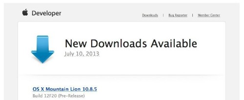 New OS X Mountain Lion Developer Seed 10.8.5 Now Available