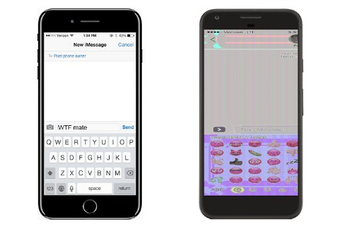 Google Pixel can't handle iPhone 7 Plus screenshots
