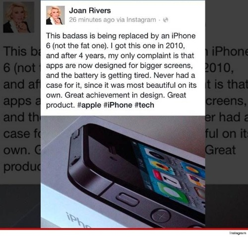 Joan Rivers promotes iPhone 6 from the grave